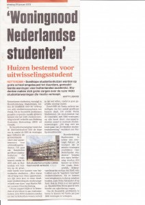 Artikel AD Woningnood Nederlandse studenten